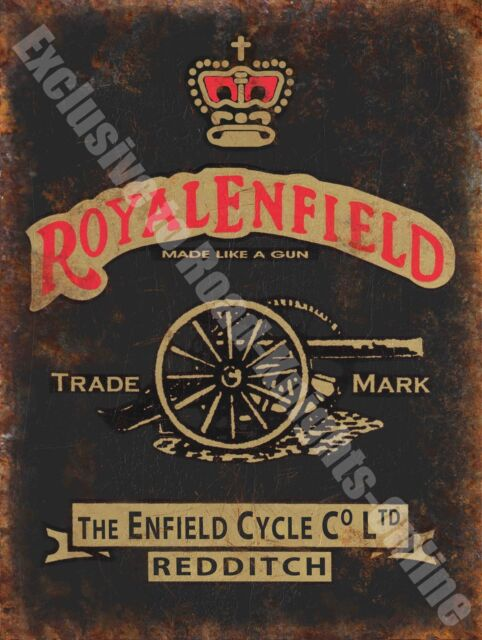 Vintage Garage Royal Enfield, 126, Motorcycles Motorbike, Small Metal Tin Sign