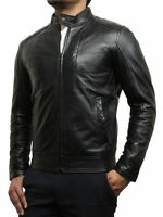 Mens Leather Biker Jacket Black Brown Vintage Look Biker Style Crinkle Retro