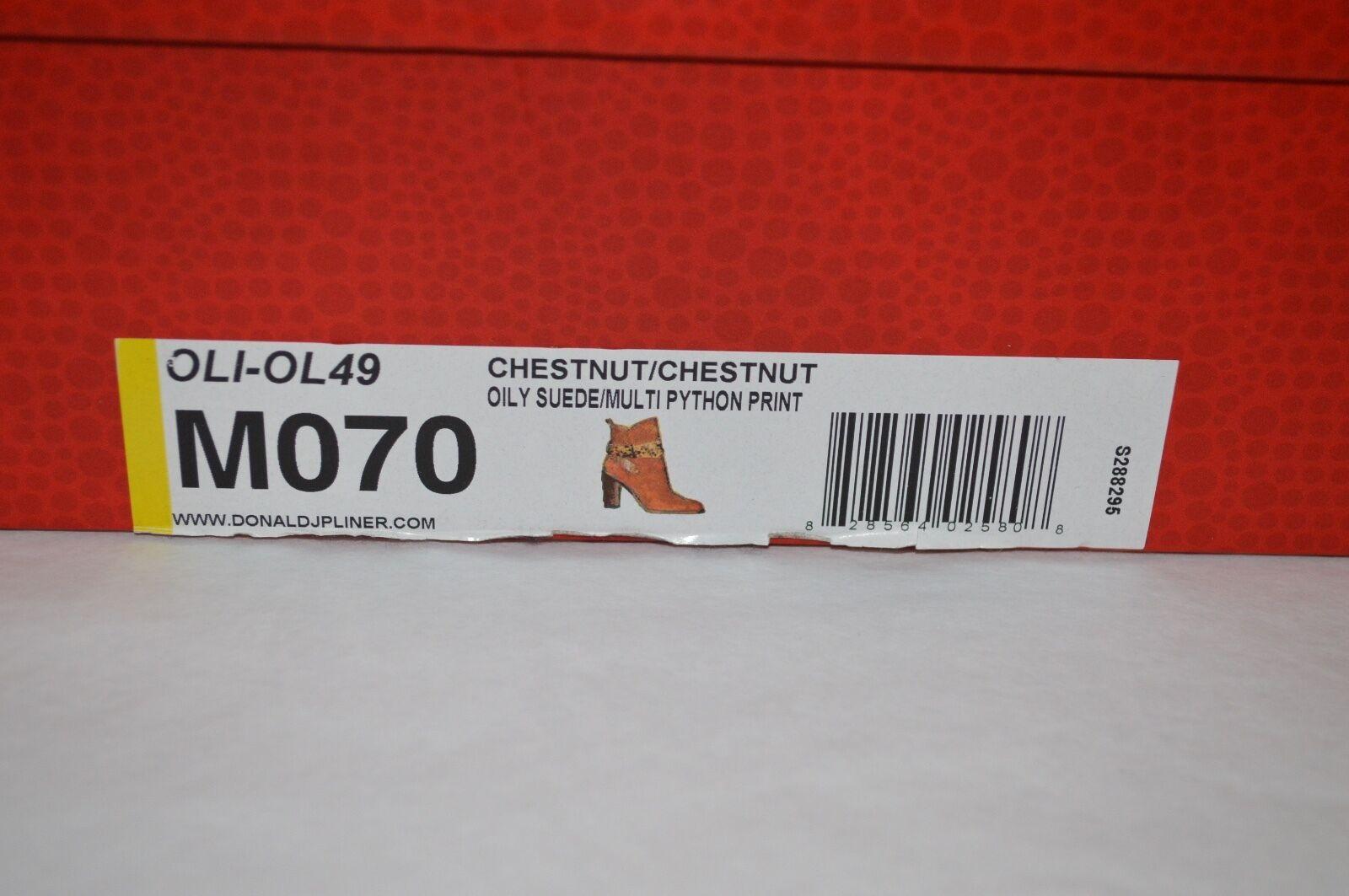 New    328 Donald J Pliner OLI-OL49 Chestnut Suede Ankle Boots Python Print sz 7 b2c72a