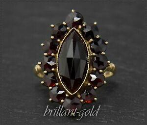 Gold-amp-7-5ct-Granat-Cocktail-Ring-Antik-ca-1920-333-Gelbgold-Handarbeit