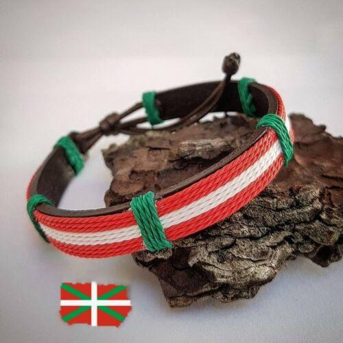 Euskadi Pulsera Ikurriña De Cuero Hilos Nylon Adaptable A Diferentes Medidas