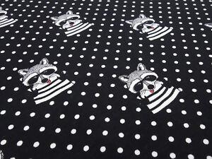 Stoff-Baumwolle-Jersey-Waschbaer-Baer-Punkte-weiss-schwarz-Kinderstoff-Kleiderstoff