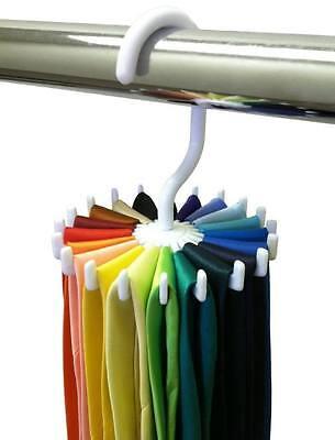 20 Neck Ties Adjustable Rotating Tie Hanger Rack Holders Belt Organizer Men KGM