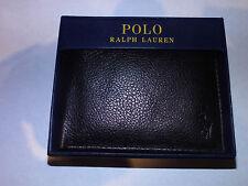 Polo Ralph Lauren Leather Bifold Passcase Wallet (Black Textured)