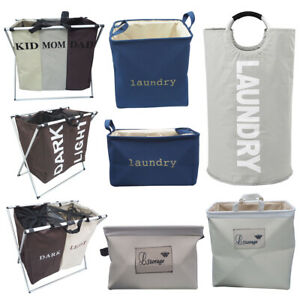 Home-2-3-Section-Pop-Up-Fabric-Laundry-Basket-Collapsible-Washing-Cloth-Hamper