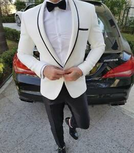 Fashion Noir Blanc Groom Tuxedo Manteau Costume Homme Un Bouton Simple Custom Made-afficher Le Titre D'origine