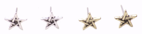 Pack Rustic Gold /& Chrome Star// Metal Stud Earrings Gorgeous Two Multi Zx188