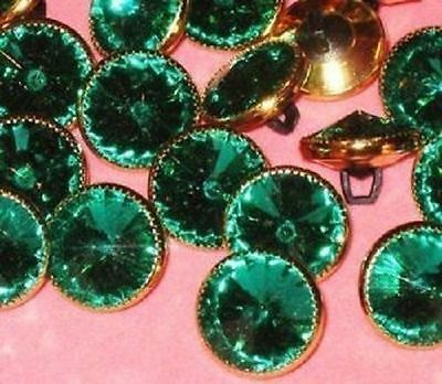 EMERALD green Lot 16 LaRge RHINESTONE Vintage New Buttons Set 5/8""