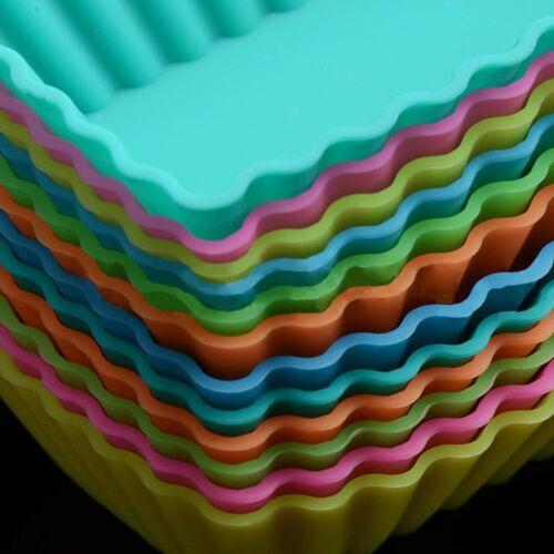 6*Silikon Muffin Rechteck Kuchen Liner Cupcake Schokolade Tasse Backform CU6D