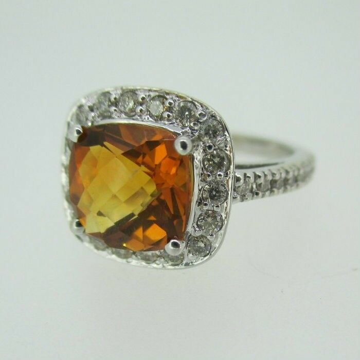 14k White gold Citrine Ring with Approx 1 3ct TW Diamond Halo Accents Size 6