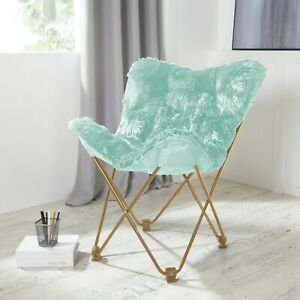 Details about Comfy AQUA Faux Fur Butterfly Folding Chair Seat Teens Dorm  Bedroom Furniture