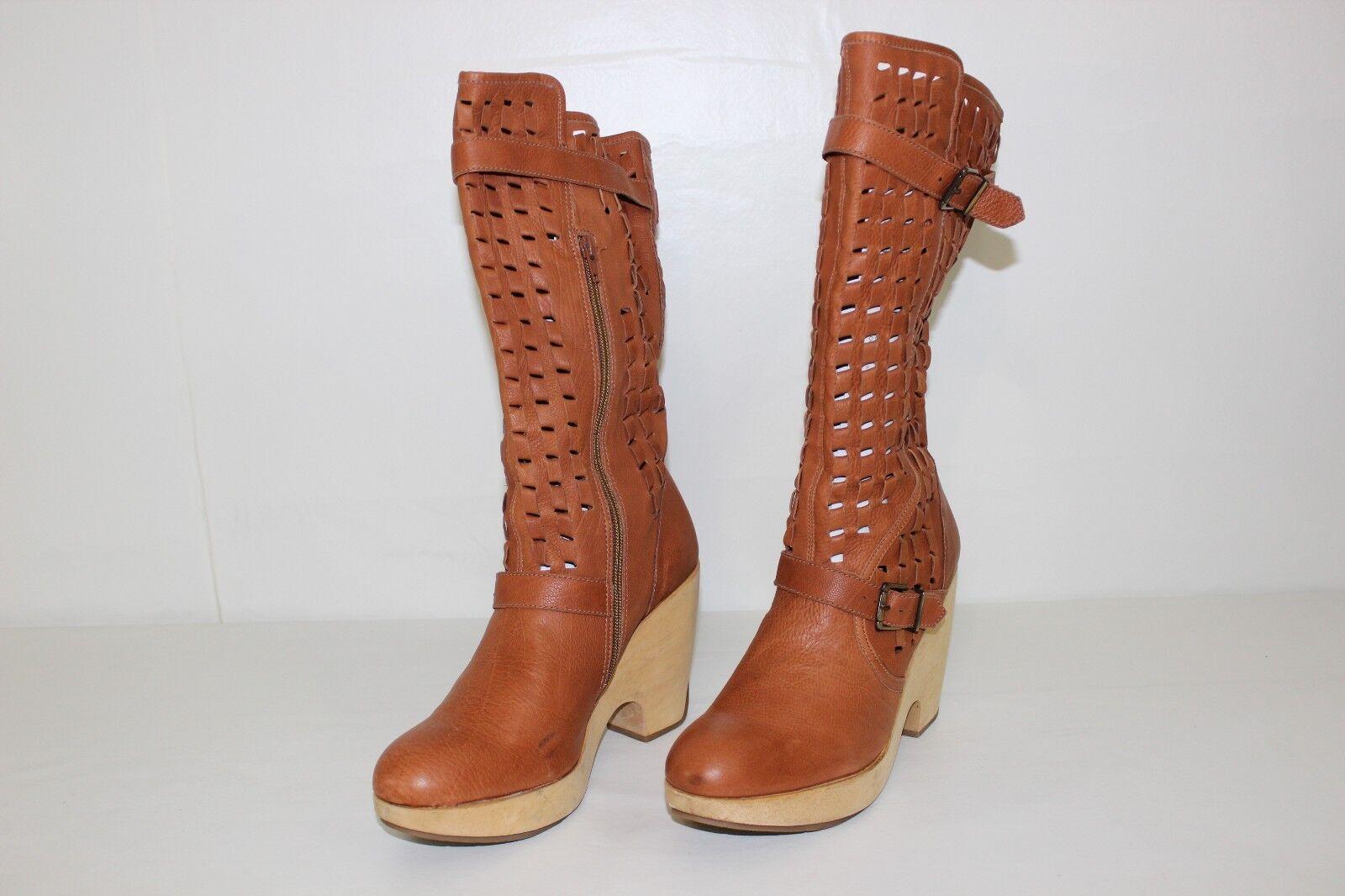 la vostra soddisfazione è il nostro obiettivo Kenneth Cole donna Sz 10 Marrone Leather Leather Leather Braided Zip Up High Heels stivali NICE  stanno facendo attività di sconto