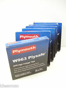 "6 ROLLS - 180 FEET - PLYMOUTH BISHOP W963 ¾""X30' PLYSAFE EPR HIGH VOLTAGE TAPE"