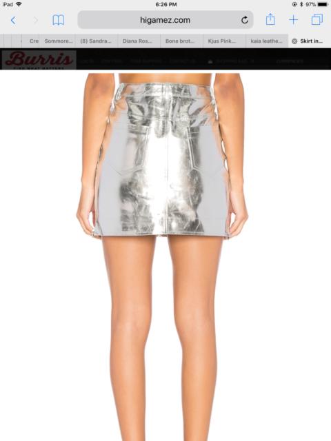 0928578cc5 NEW ARC Women s Kaia 100% Genuine Leather Skirt in Silver Metallic - S