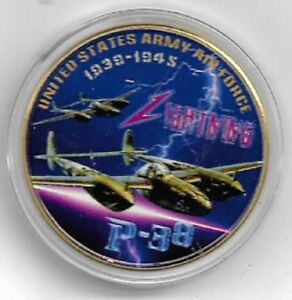U-S-United-States-Army-Air-Force-USAAF-P-38-Lighting-Gold-Plated-Coin