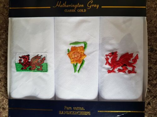 Boxed 3 Mens Welsh Wales Dragon Daffodil Handkerchiefs 100/% Cotton Gift New