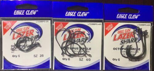 Eagle Claw LAZER SHARP Octopus Cercle Style L7228BPG de nombreuses tailles LIVRAISON GRATUITE