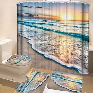 4PC-Bathroom-Shower-Curtain-Non-slip-Bath-Mat-Pedestal-Toilet-Seat-Cover-Lid-Rug
