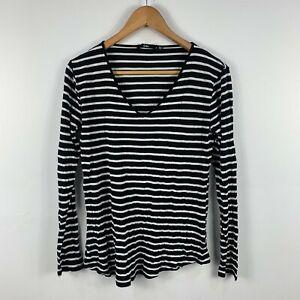 Sportsgirl-Womens-Blouse-Top-Size-Small-Striped-Black-White-Long-Sleeve-V-Neck