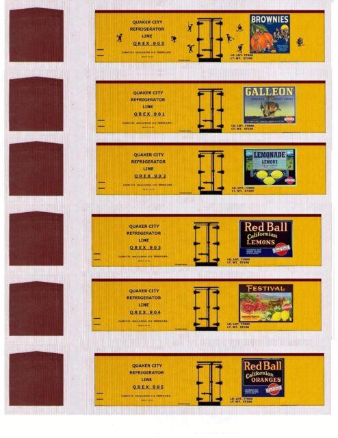 24 different orange & lemon HO scale boxcars, printed reefer sides