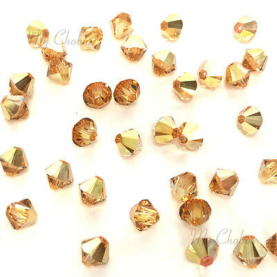 24 Metallic Sunshine 2X Swarovski Crystal Beads Bicone 5328 4mm