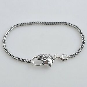 CHARM-BRACELET-3mm-foxtail-European-Solid-925-Sterling-silver-Fish-clasp-option