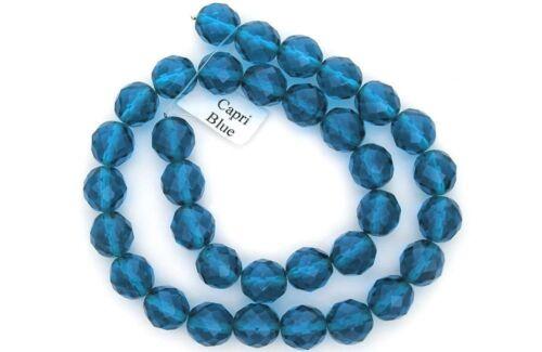 """Czech Fire poli à Facette Rondelle Perles De Verre En Bleu Capri Couleur 16/"""" Strand"""