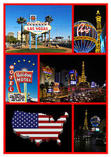 LAS VEGAS, USA - SOUVENIR NOVELTY FRIDGE MAGNET - SIGHTS - GIFT - XMAS - NEW