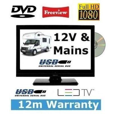 """16"""" ULTRA SLIM LED TV with DVD PLAYER - MOTORHOME / CARAVAN / BOAT - 12V 12 VOLT"""