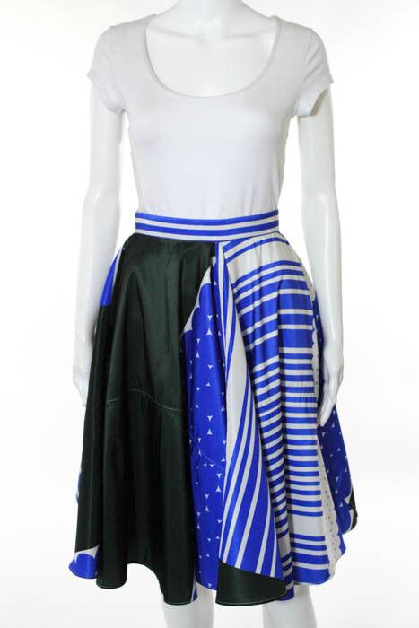 Maison Rabih Kayrouz bluee White Striped A-Line Skirt Size IT 36 New 114138
