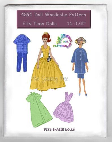 "Fits Barbie Doll wardrobe pattern Gown mail order 11 1//2/"" vintage 4891"