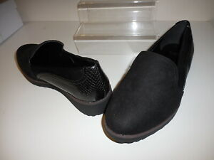 Black Faux Suede Wedge Shoes Size UK 7 Wide Fit EEE BNWT ~~ Evans