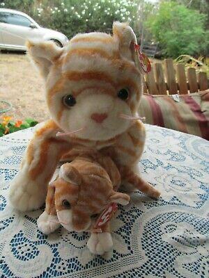 ty beanie baby AMBER tabby kitten cat MWMTS