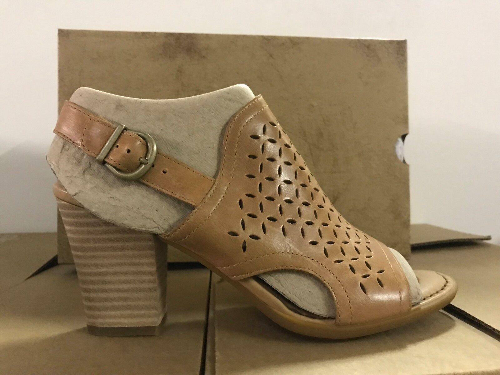 Nacido rosado para para para Mujer Peep Toe Tacones Zapatos Zapatos Sandalias De Cuero Marrón  tienda de descuento