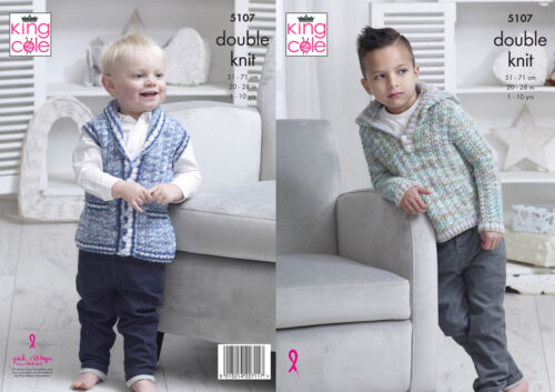 Doble Tejer patrón King Cole chicos dk cableados Sweater Con Capucha /& Chaleco 5107