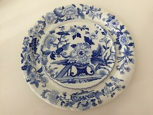 Rare-Antique-Dresden-Opaque-China-Blue-amp-White-Platter-13-1-2-034-Diameter