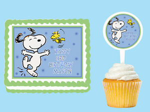 SNOOPY Edible Birthday Party Cake Topper Cupcake Plastic Pick