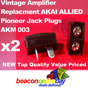2x Speaker Jack Plugs for Vintage AKM 003 Pioneer AKAI ALLIED Amplifier Receiver