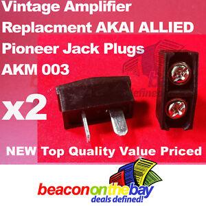 2x-Speaker-Jack-Plugs-for-Vintage-AKM-003-Pioneer-AKAI-ALLIED-Amplifier-Receiver