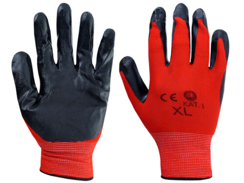 5  Pairs Gloves Nylon  PU GRIP Safety Work XL//10