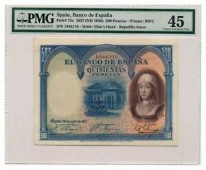 SPAIN-banknote-500-Pesetas-1927-PMG-XF-45-Extremely-Fine-grade