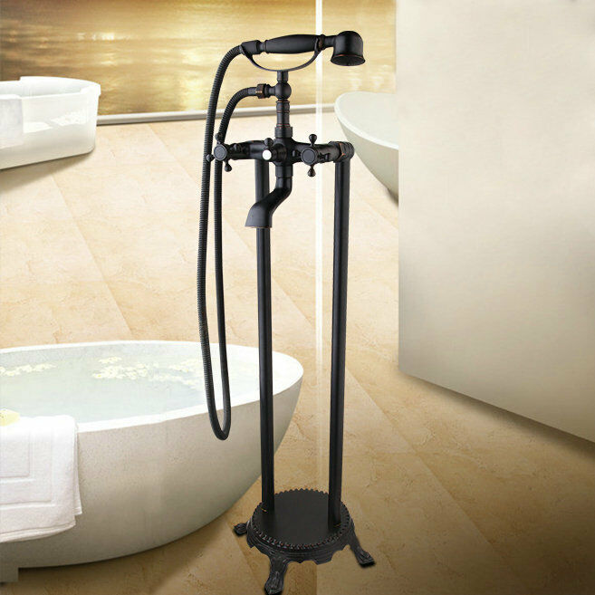 Orb montage au sol baignoire mélangeur Téléphone Style douche à main Robinet 2 Poignées robinets