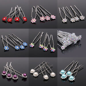 4PC-Hair-Pins-Clips-Prom-Faux-Pearl-Flower-Diamante-Crystal-Wedding-Bridal-Party