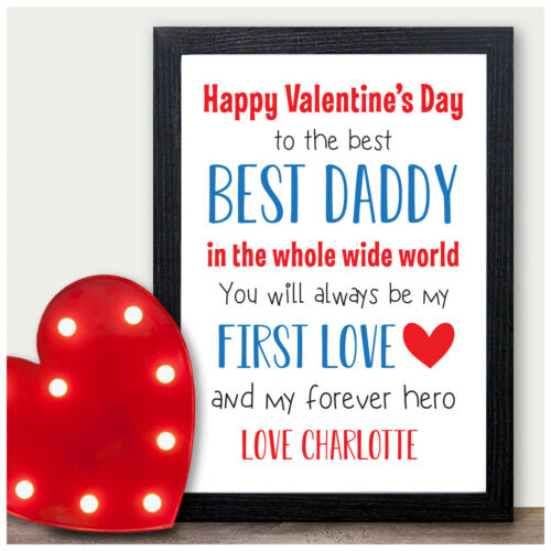 Personalised Happy Valentines Day Gifts for Daddy Dad from Daughter Son Baby