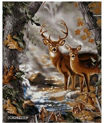 """36"""" Fabric Panel - Sykel Realtree Deer in Forest Nature Wallhanging Scene"""