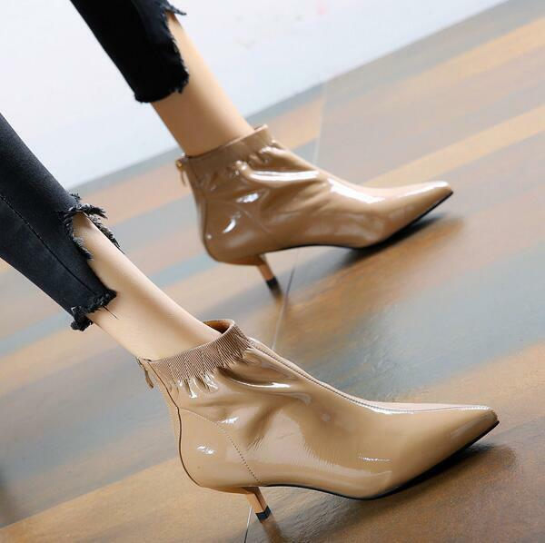 Donna Pointed Pointed Donna Toe Patent Pelle Stilettos Med Heels Back Zip Casual Shoes V621 3cd012