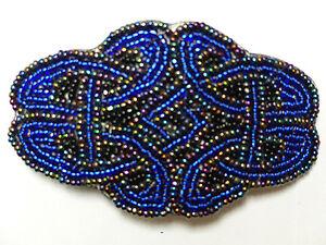 Celtic-Knot-Hair-Clip-Barrette-Hand-Made-Blue-Peacock-Black