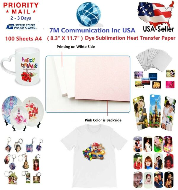 50 Sheet A4 Sublimation Heat Transfer Paper for Mug Cup Plate Cotton T Shirt