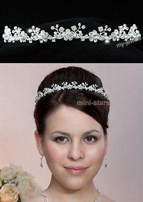 Hochzeit kristall Silbernes Haarreif Diadem Tiara-Hochzeit Brautschmuck T1263