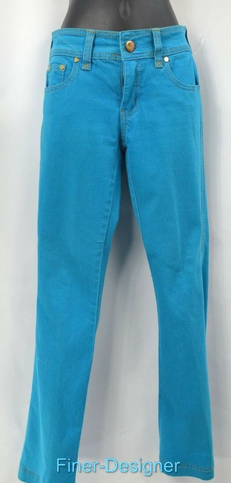 CACHE turquoise colord jeans stretch pants jean slim trousers boot cut 0 XS NEW